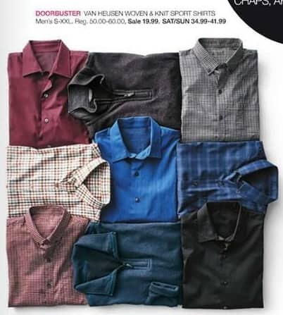 Stage Stores Black Friday: Van Heusen Men's Woven and Knit Sport Shirts for $19.99