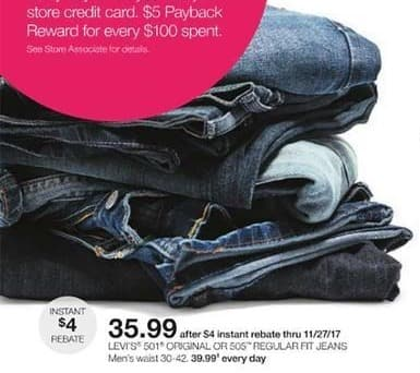 Stage Stores Black Friday: Levi's Men's 501 Original or 505 Regular Fit Jeans for $35.99