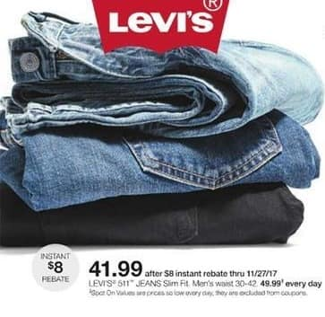 Stage Stores Black Friday: Levi's Men's 511 Slim Fit Jeans for $41.99