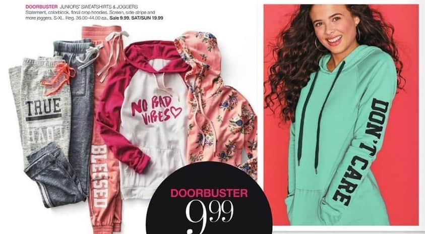 Stage Stores Black Friday: Juniors' Sweatshirts and Joggers for $9.99