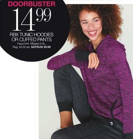 Stage Stores Black Friday: RBX Misses Tunic Hoodies or Cuffed Pants for $14.99