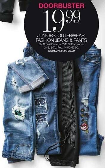 Stage Stores Black Friday: Juniors' Outerwear, Fashion Jeans and Pants: YMI, Almost Famous, BeBop & More for $19.99