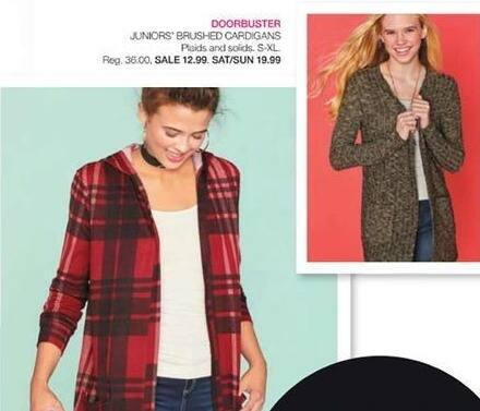 Stage Stores Black Friday: Juniors' Brushed Cardigans for $12.99