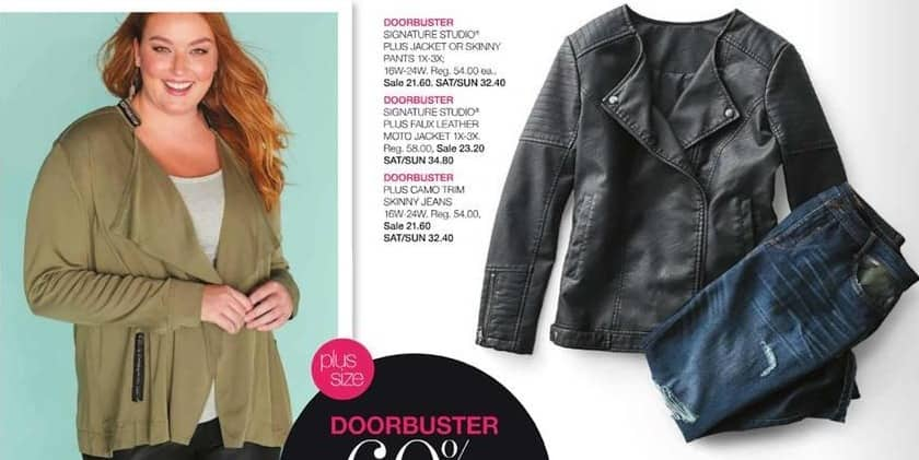 Stage Stores Black Friday: Signature Studio Women's Plus Faux Leather Moto Jacket for $23.20