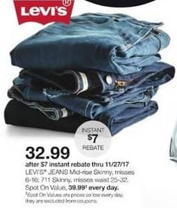 Stage Stores Black Friday: Levi's Misses Mid-Rise Skinny or 711 Skinny Jeans for $32.99