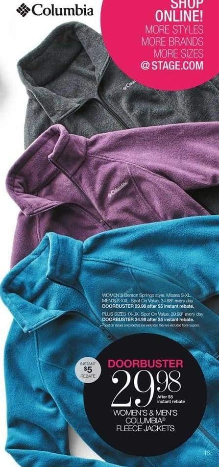 Stage Stores Black Friday: Columbia Women's or Men's Fleece for $29.98