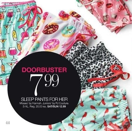 Stage Stores Black Friday: Hannah Misses or PJ Couture Juniors' Sleep Pants for $7.99