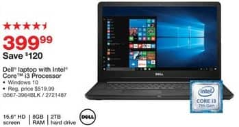 """Staples Black Friday: Dell 15.6"""" Laptop: Intel Core i3, 2TB, 8GB, Win 10 for $399.99"""