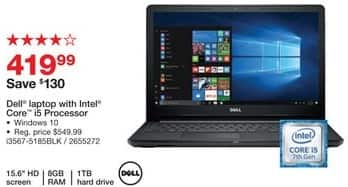 "Staples Black Friday: Dell 15.6"" Laptop: Intel Core i5, 1TB, 8GB, Win 10 for $419.99"