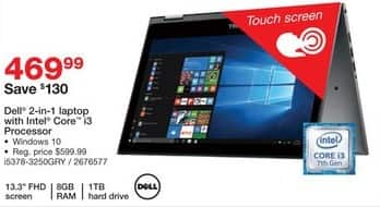 "Staples Black Friday: Dell 13.3"" 2-in-1 Laptop: Intel Core i3, 1TB, 8GB, Win 10 for $469.99"