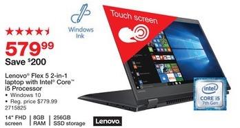 "Staples Black Friday: Lenovo Flex 5 14"" 2-in-1 Laptop: Intel Core i5, 256GB SSD, 8GB, Win 10 for $579.99"