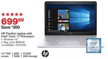 """Staples Black Friday: HP Pavilion 14"""" Laptop: Intel Core i7, 512GB SSD, 8GB, Win 10 for $699.99"""