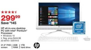 "Staples Black Friday: HP 21.5"" All-in-One Desktop: Intel Pentium Processor, 1TB, 4GB, Win 10 for $299.99"