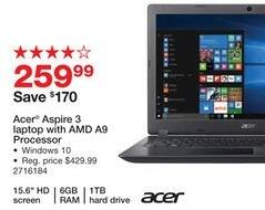 "Staples Black Friday: Acer Aspire 3 15.6"" Laptop: AMD A9, 1TB, 6GB, Win 10 for $259.99"