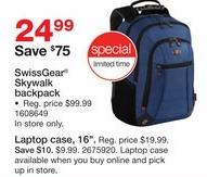 Staples Black Friday: SwissGear Skywalk Backpack for $24.99