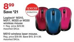 Staples Black Friday: Logitech M310, M317, M325 or M330 Wireless Mouse for $8.99