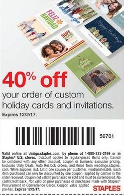 Staples Black Friday: Custom Holiday Cards and Invitations - 40% Off