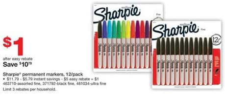 Staples Black Friday: Sharpie Permanent Markers 12-Pack for $1.00 after $5.00 rebate