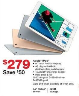 "Staples Black Friday: 32GB Apple iPad 9.7"" Tablet for $279.00"
