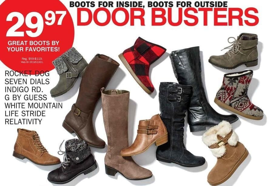 Bon-Ton Black Friday: Select Rocket Dog, Seven Dials, Indigo Rd., G by Guess, White Mountain, Life Stride and Relativity Women's Boots for $29.97