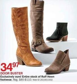 Bon-Ton Black Friday: Entire Stock Ruff Hewn Women's Footwear for $34.97