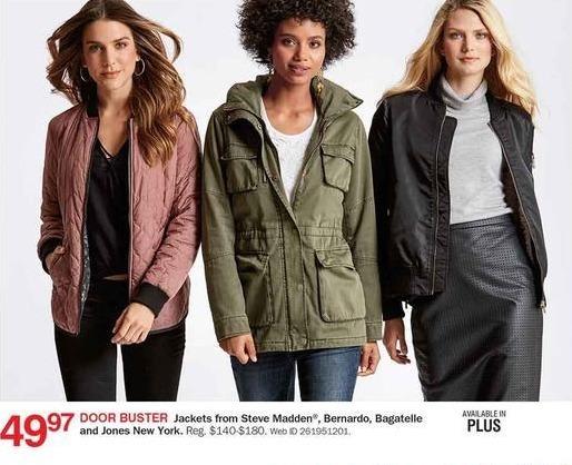 Bon-Ton Black Friday: Steve Madden, Bernardo, Bagatelle and Jones New York Women's Jackets for $49.97