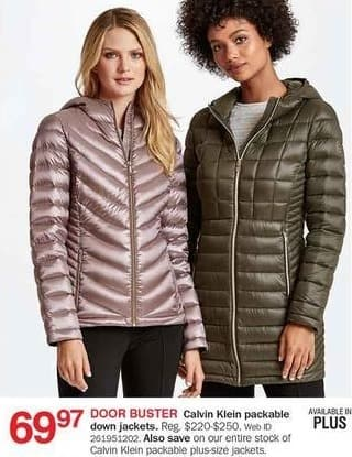 Bon-Ton Black Friday: Calvin Klein Women's Packable Down Jackets for $69.97