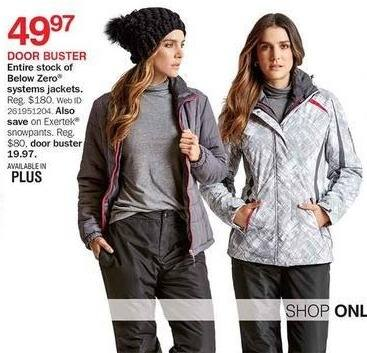 Bon-Ton Black Friday: Entire Stock Below Zero Systems Women's Jackets for $49.97