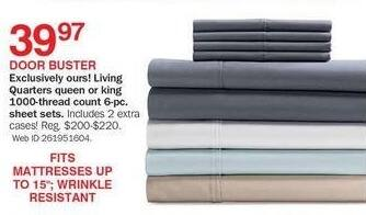 Bon-Ton Black Friday: Living Quarters 1000-Thread Count 6-pc Sheet Sets (Queen-King) for $39.97