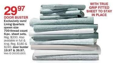 Bon-Ton Black Friday: Living Quarters 700-Thread Count 6-pc Sheet Set (King) for $39.97