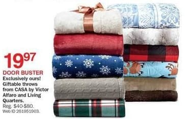 Bon-Ton Black Friday: CASA by Victor Alfaro and Living Quarters Giftable Throws for $19.97