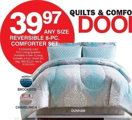 Bon-Ton Black Friday: Living Quarters Reversible 8-pc Comforter Set (Any Size) for $39.97