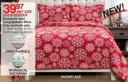 Bon-Ton Black Friday: Living Quarters Micro Cozy Comforter Sets (Any Size) for $39.97