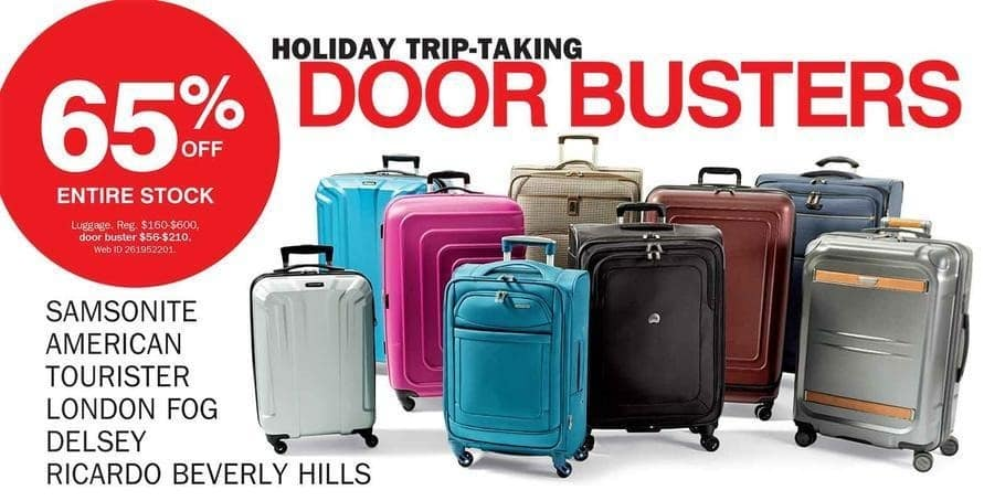 Bon-Ton Black Friday: Entire Stock Samsonite, American Tourister, London Fog, Delsey and Ricardo Beverly Hills Luggage - 65% Off