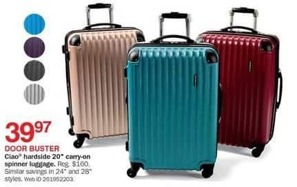 """Bon-Ton Black Friday: Ciao Hardside 20"""" Carry-on Spinner Luggage for $39.97"""
