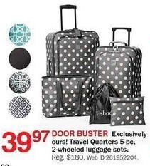 Bon-Ton Black Friday: Travel Quarters 5-pc 2-Wheeled Luggage Sets for $39.97
