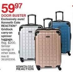 Bon-Ton Black Friday: Kenneth Cole Reaction Gridlock Carry-on Spinner Luggage for $59.97
