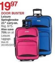 "Bon-Ton Black Friday: Leisure Springbrooke 21"" Carry-on Luggage for $19.97"