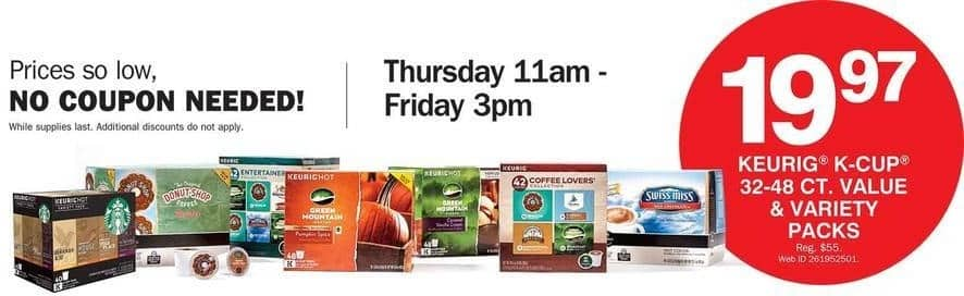 Bon-Ton Black Friday: Keurig K-Cup 32-48 Ct. Value and Variety Packs for $19.97