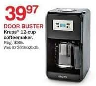 Bon-Ton Black Friday: Krups 12-cup Coffee Maker for $39.97