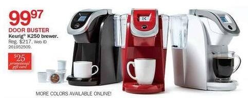 Bon-Ton Black Friday: Keurig K250 Brewer + $25 Promotional Gift Card for $99.97