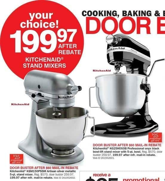 Bon Ton Black Friday: KitchenAid Artisan 5 Qt Silver Metallic Stand Mixer (