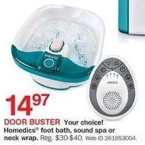 Bon-Ton Black Friday: HoMedics Foot Bath, Sound Spa or Neck Wrap for $14.97