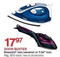 Bon-Ton Black Friday: Rowenta Iron/Steamer or T-Fal Iron for $17.97
