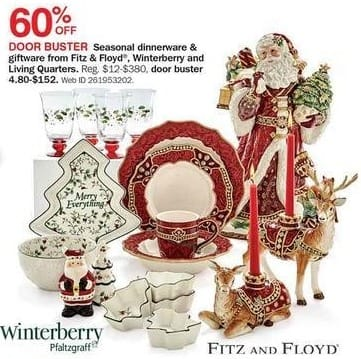 Bon-Ton Black Friday: Fitz & Floyd, Winterberry and Living Quarters Seasonal Dinnerware and Giftware - 60% Off