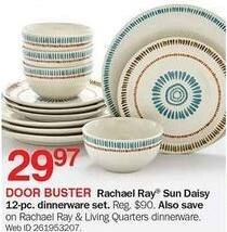 Bon-Ton Black Friday: Rachael Ray Sun Daisy 12-pc Dinnerware Set for $29.97