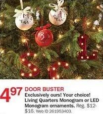 Bon-Ton Black Friday: Living Quarters Monogram or LED Monogram Ornaments for $4.97