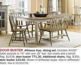 Bon-Ton Black Friday: Alfresco 4-pc Dining Set for $771.20