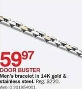 Bon-Ton Black Friday: 14k Gold and Stainless Steel Men's Bracelet for $59.97