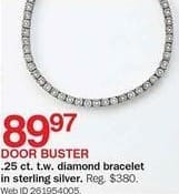 Bon-Ton Black Friday: 1/4-ct T.W. Diamond Sterling Silver Bracelet for $89.97